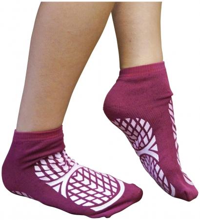 Double Sided Non Slip Patient Slipper Socks - PURPLE - S