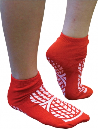 Double Sided Non Slip Patient Slipper Socks - RED - M