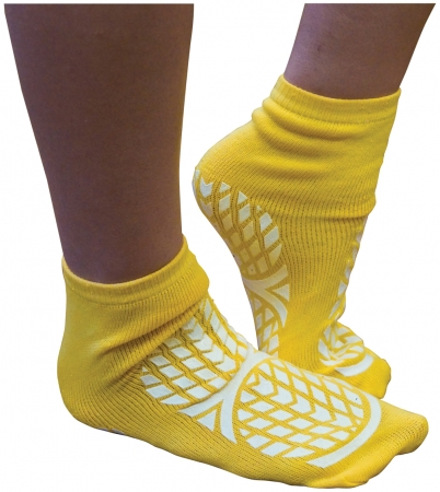 Double Sided Non Slip Patient Slipper Socks - YELLOW - S