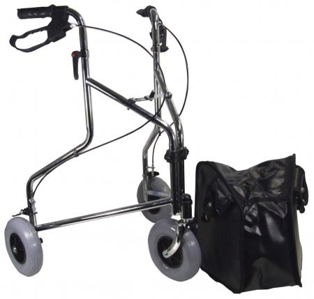 Three Wheeled Steel Walker - Chrome