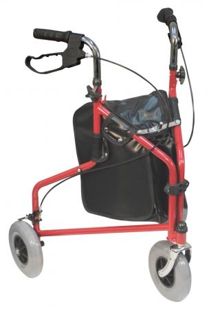 Three Wheeled Steel Walker - red