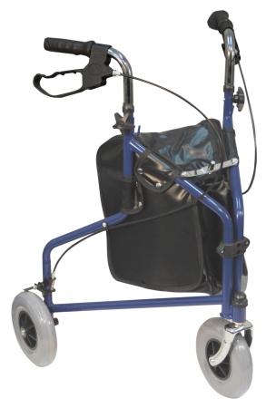 Three Wheeled Steel Walker - Blue