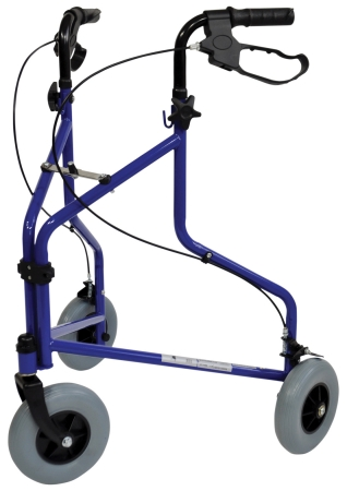 Three Wheeled Steel Walker - Blue