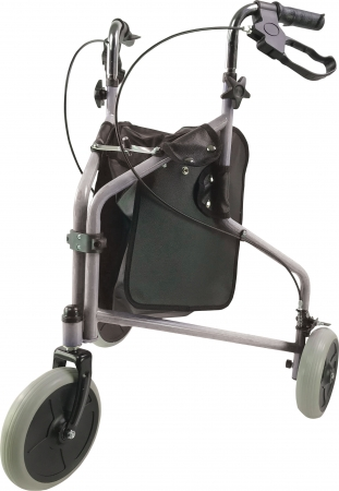 Three Wheeled Steel Walker - Silver