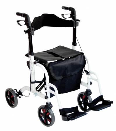 Duo Deluxe Rollator and Transit Chair in One - White