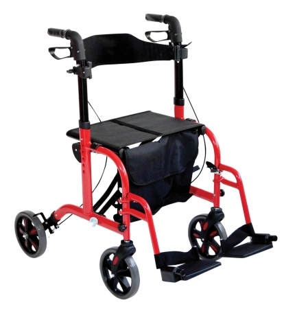 Duo Deluxe Rollator and Transit Chair in One - Red