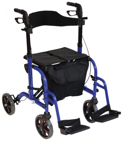 Duo Deluxe Rollator and Transit Chair in One - Blue