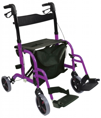 Duo Deluxe Rollator and Transit Chair in One - Purple