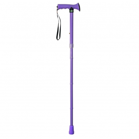 Folding Rubber Handled Walking Stick - Different Colours Available