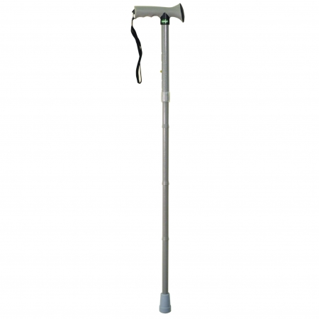 Folding Rubber Handled Walking Stick - Grey
