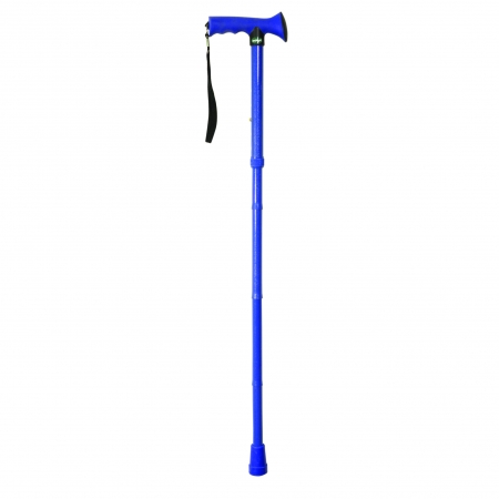 Folding Rubber Handled Walking Stick - Bright Blue