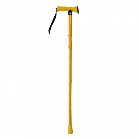 Folding Rubber Handled Walking Stick - Yellow
