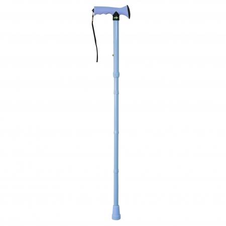 Folding Rubber Handled Walking Stick - Light Blue