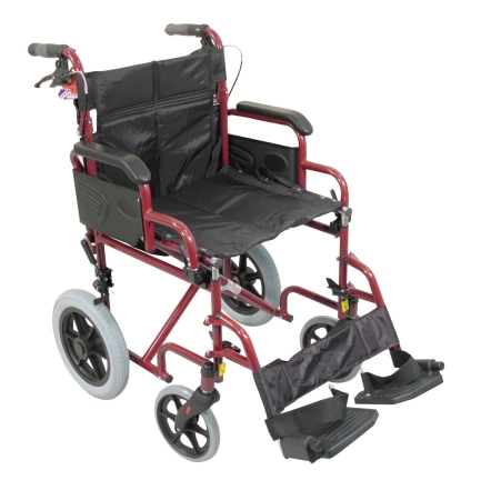 Deluxe Attendant Propelled Steel Wheelchair - Red