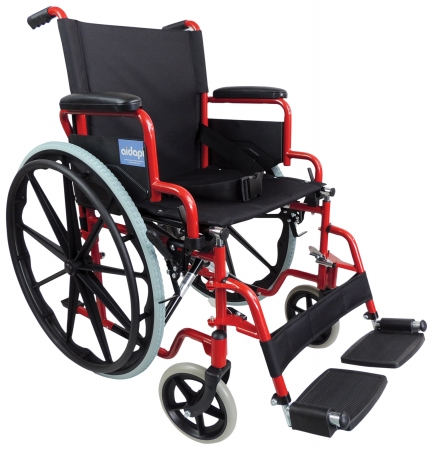 Aidapt Self Propelled Steel Transit Chair - Red