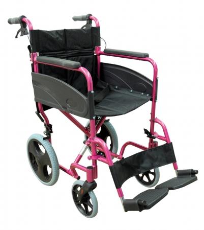 Lightweight Transport Aluminium Wheelchair - Pink