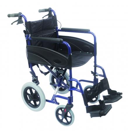 Lightweight Transport Aluminium Wheelchair - Blue