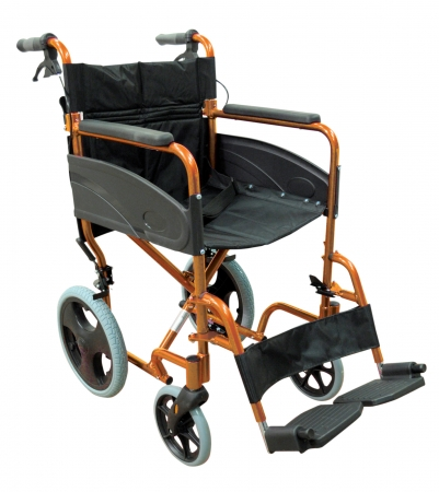 Lightweight Transport Aluminium Wheelchair - Orange