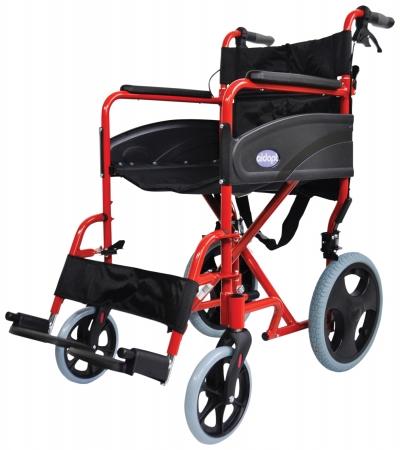 Lightweight Transport Aluminium Wheelchair - Red