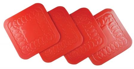 Tenura Anti Slip Square Coasters 9 cm - Pack of 4 - Red