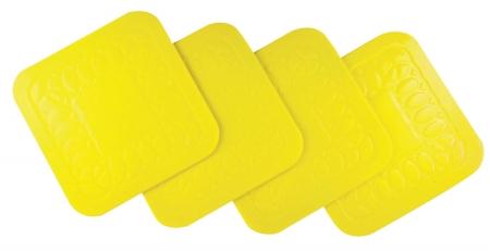 Tenura Anti Slip Square Coasters 9 cm - Pack of 4 - Yellow