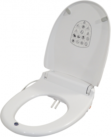 E Loo Toilet Seat with Bidet Cleaning, Warm Air Dryer, Night Light and Heated Seat Comfort Function - Round