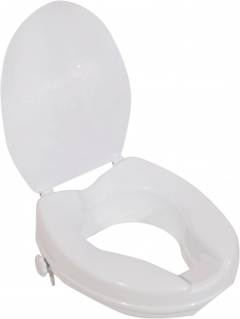 Viscount White Raised Toilet Seat With Lid- 2 inches