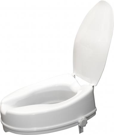 Viscount White Raised Toilet Seat With Lid- 4 inches