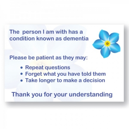 Patient Cards - Companion of a Person with Dementia - Different Quantities Available