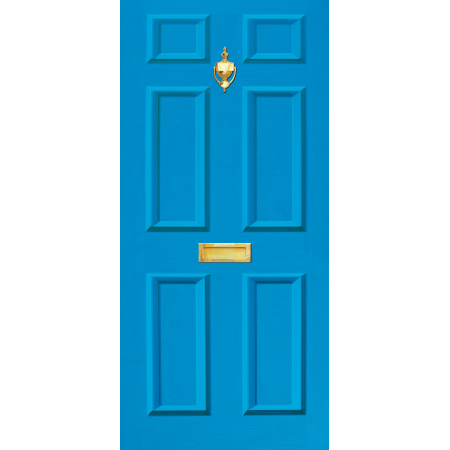 Door Decal Dementia Friendly with Letterbox and Knocker - Mid Blue