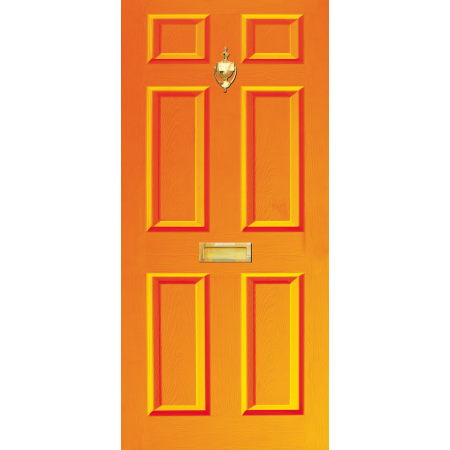 Door Decal Dementia Friendly with Letterbox and Knocker - Orange