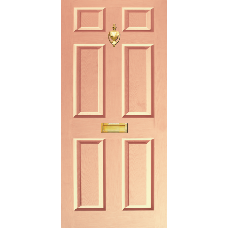 Door Decal Dementis Freindly with Letterbox and Knocker - Peach