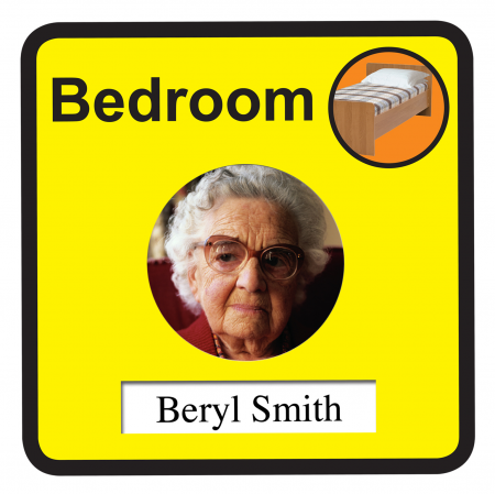 Interchangeable Bedroom Door Sign Dementia Friendly - 300mm wide x 300mm deep