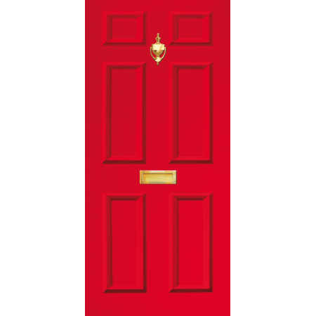Door Decal Dementia Friendly with Letterbox and Knocker - Red