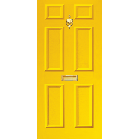 Door Decal Dementia Friendly with Letterbox and Knocker - Yellow